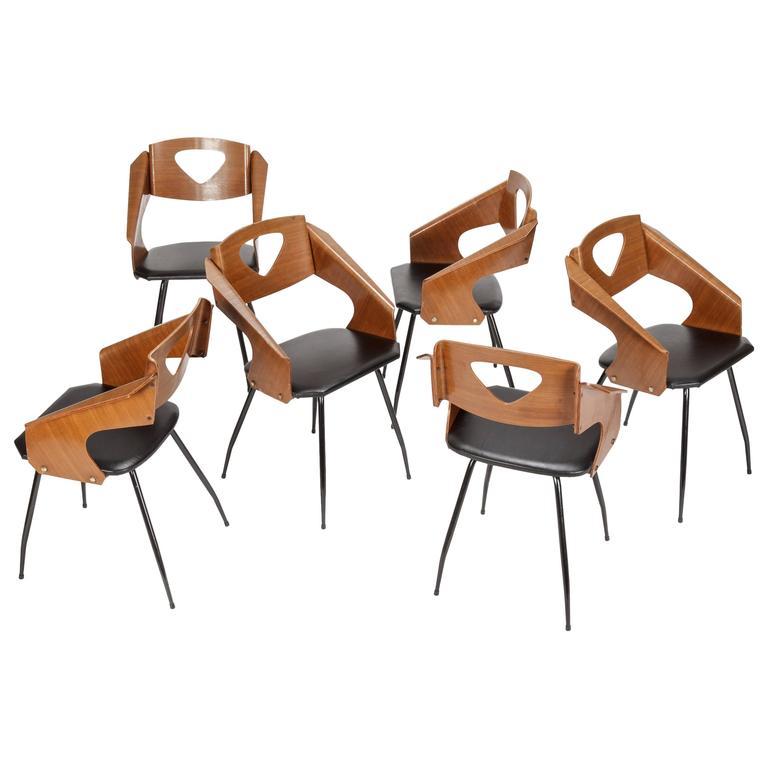 Set of Six Carlo Ratti Chairs for Legni Curva Lissone, 1950