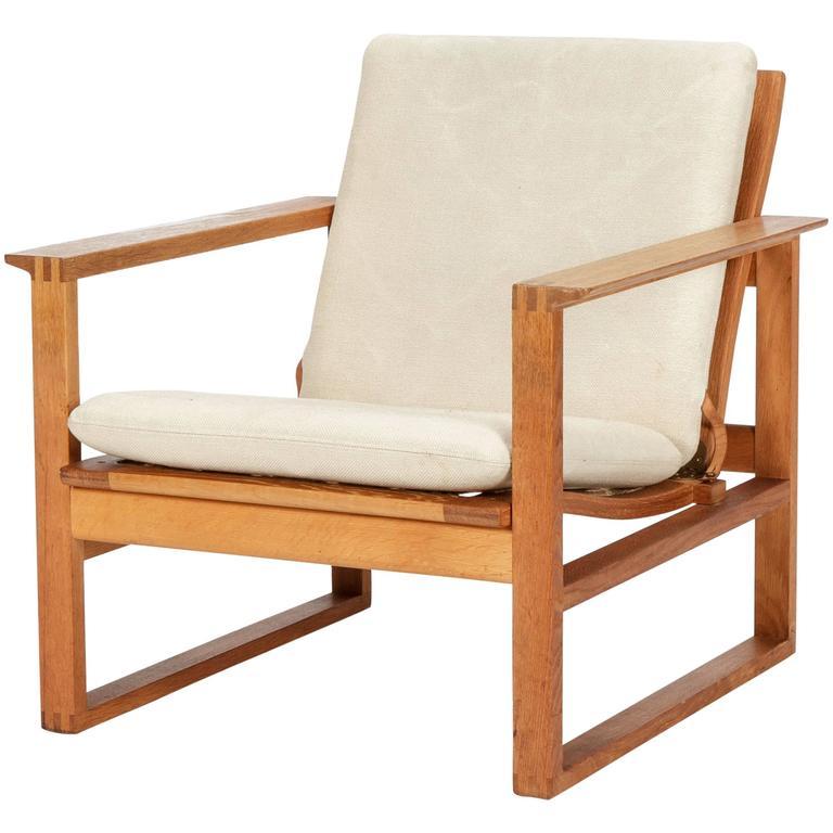 Danish Borge Mogensen Lounge Chair 2256 Oak, 1956