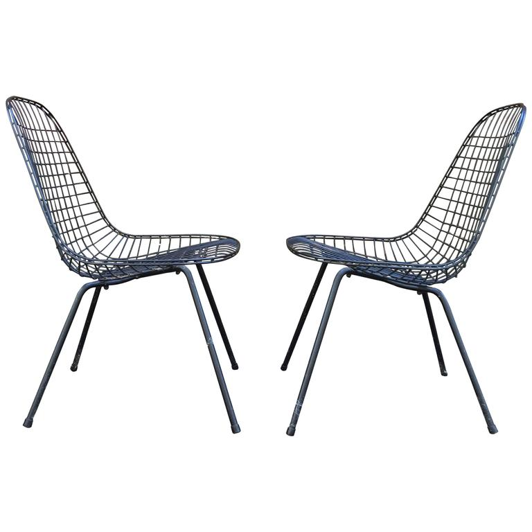Pair Of Early Eames DKR Wire Chairs For Sale At 1stdibs