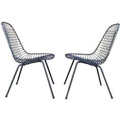 Pair of Early Eames DKR Wire Chairs