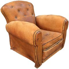 French Art Deco Cognac Leather Club Chair