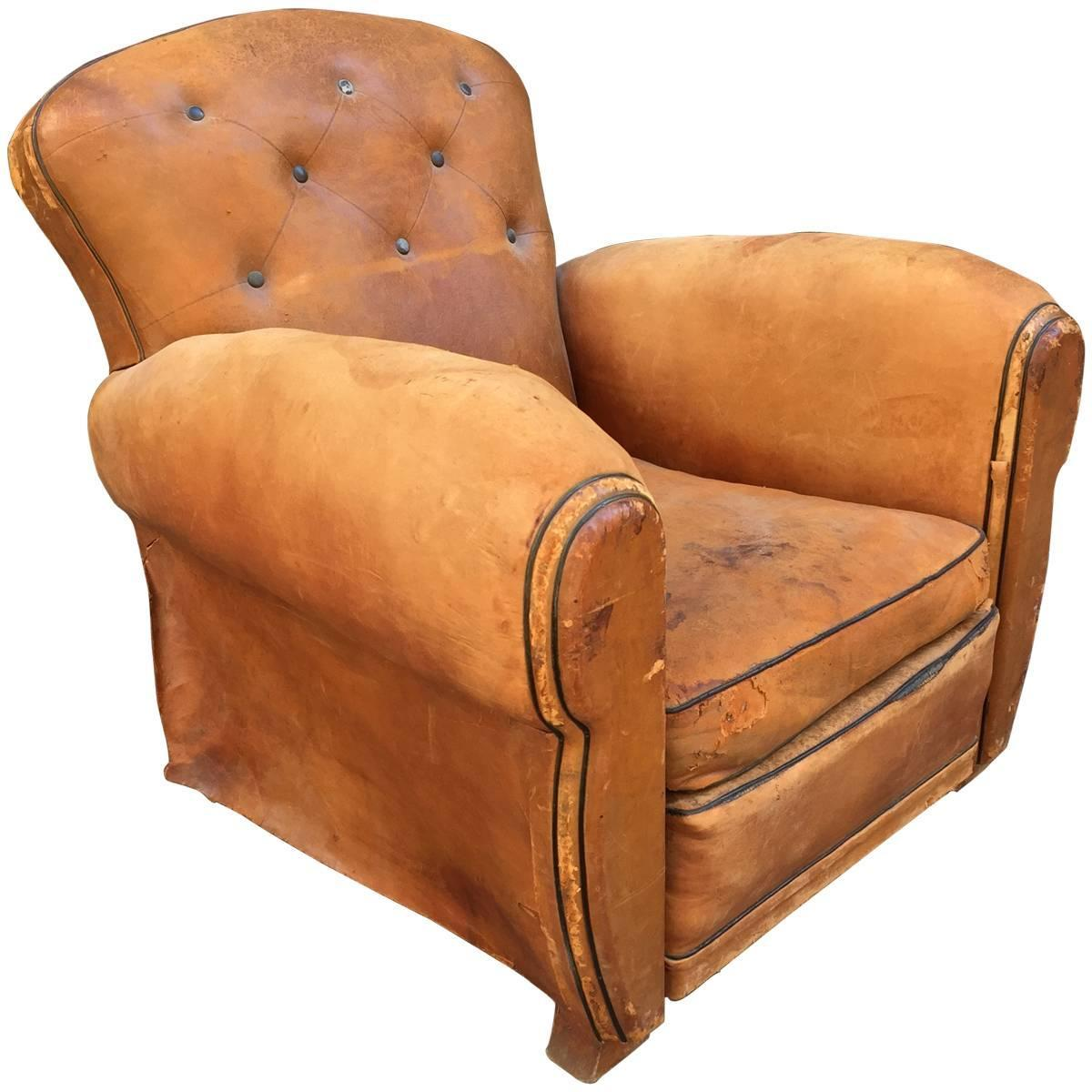 French Art Deco Cognac Leather Club Chair For Sale at 1stdibs