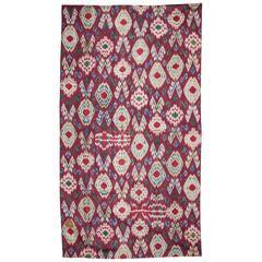 19th Century Uzbek Silk Warp, Cotton Weft Ikat Panel 3'6'' x 6'5''.