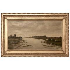 Original Gold Framed Landscape Oil Painting on Canvas by A.V. Weezel-Errens