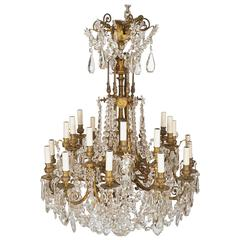 Mid-19th Century Ormolu and Crystal Chandelier