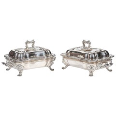 Old Sheffield Silver Plate Entree Dishes, 19th Century, Regency Period