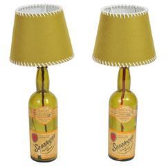 Pair of 1940s Sanatogen Vintage Handmade Rustic Style Glass Bottles Table Lamps