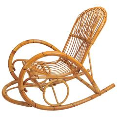 Rattan Rocking Chair Attributed to Franco Albini