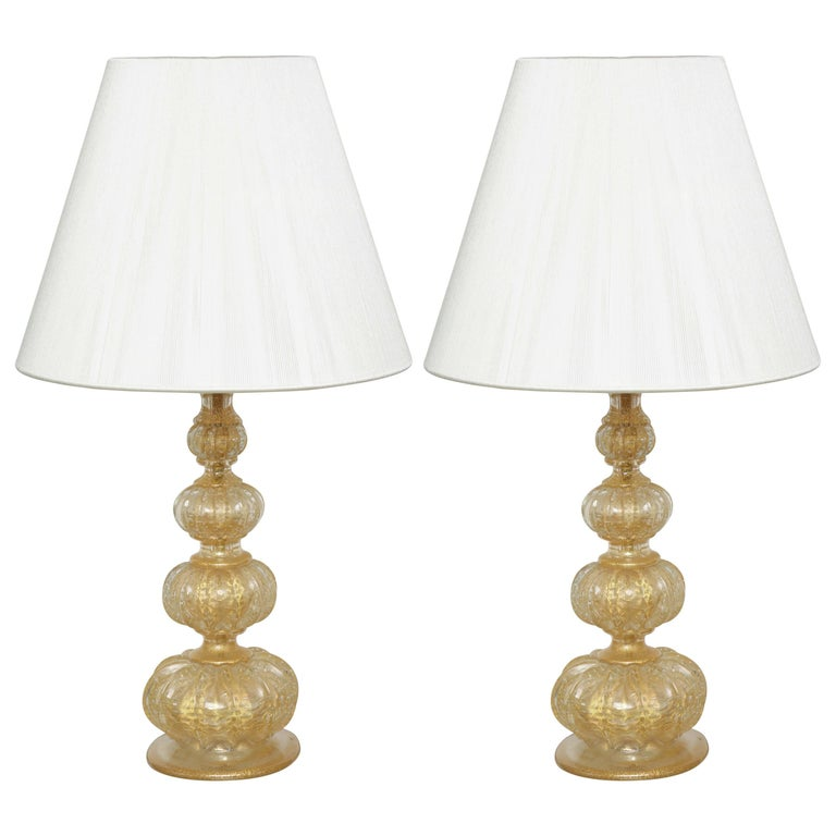 Pair of Barovier Descending Pumpkin Form Glass Lamps For Sale