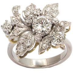 Diamond and Platinum Flower Ring