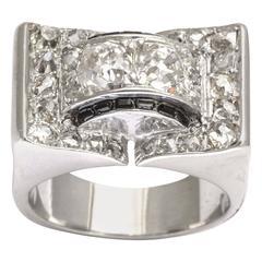 French Retro Diamond and Onyx Platinum and White Gold  Ring