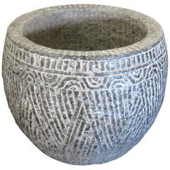 Carved Large Grey Stone Pot, China, Contemporary