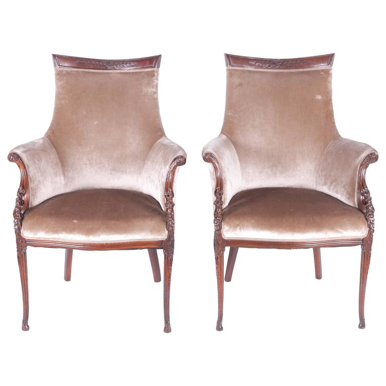 Pair of Elegant Hollywood Regency Grosfeld Armchairs