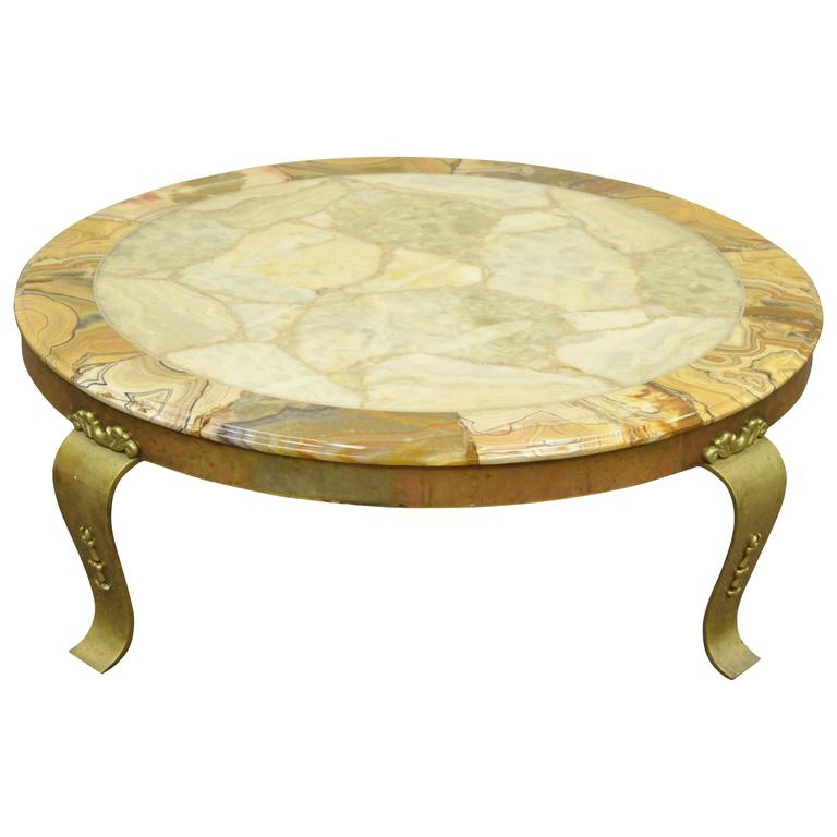 Solid Brass And Onyx Round Coffee Table By Muller Attributed To Arturo Pani For Sale At 1stdibs