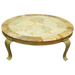 Solid Brass and Onyx Round Coffee Table by Muller Attributed to Arturo Pani