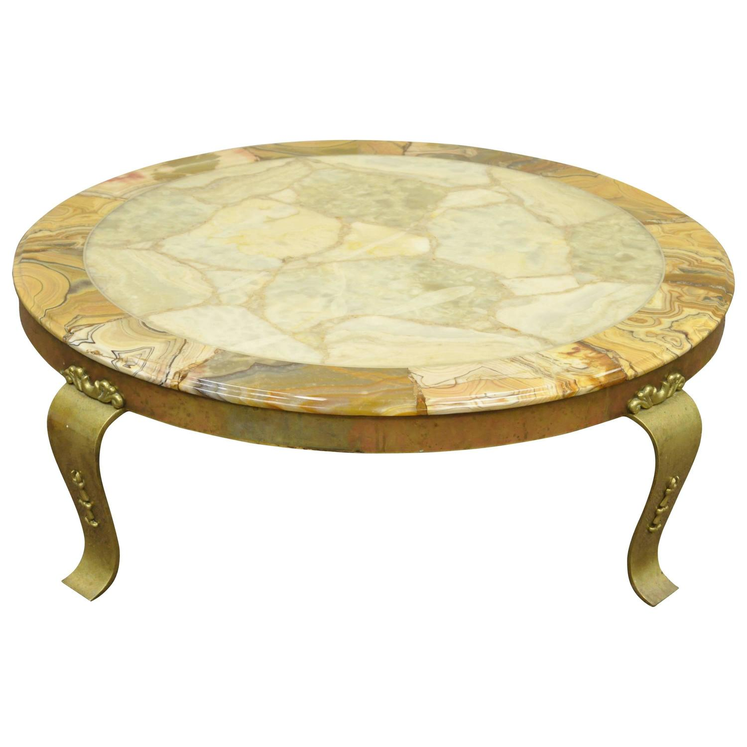 solid brass and onyx round coffee table by muller attributed to arturo pani for sale at 1stdibs. Black Bedroom Furniture Sets. Home Design Ideas