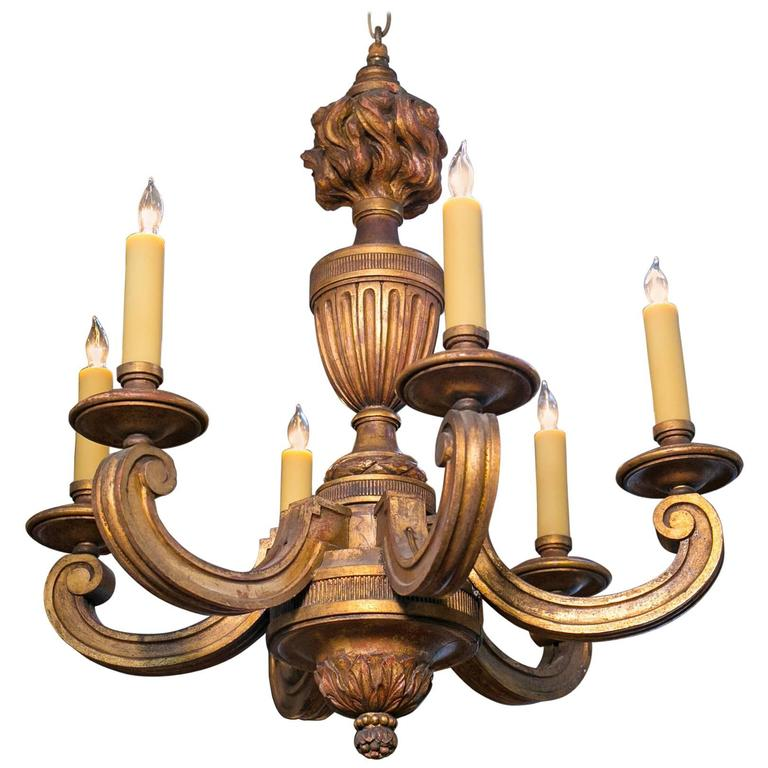 French Empire Style Carved Gilt Wood Chandelier with Six Arms, circa 1900 1