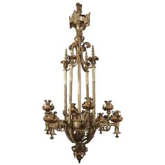 19th Century Chandelier of Wrought Iron in the Renaissance Style