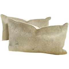 Pair of Grey Cowhide Pillows