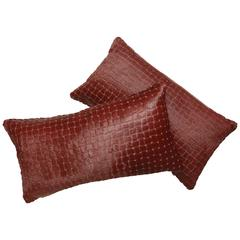 Pair of Contemporary Burgundy Laser Cut Cowhide Hair Lumbar Pillows