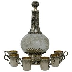 Fabulous French Sterling Silver Baccarat Crystal Liquor Service Rococo