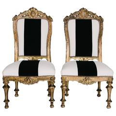 19th Century Italian Giltwood Slipper Chairs