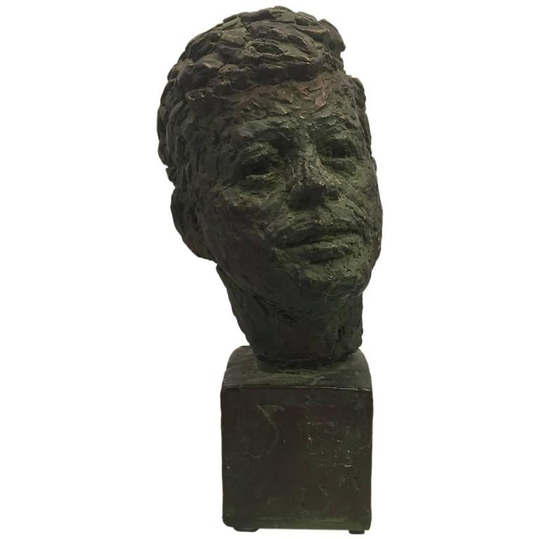 Bust of John Fitzgerald Kennedy of Bronze Patinated Plaster by Robert Berks For Sale