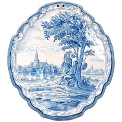 Antique Blue and White Dutch Delft Wall Plaque with an Amorous Young Couple