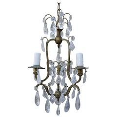 French Three-Light Rock Crystal Chandelier