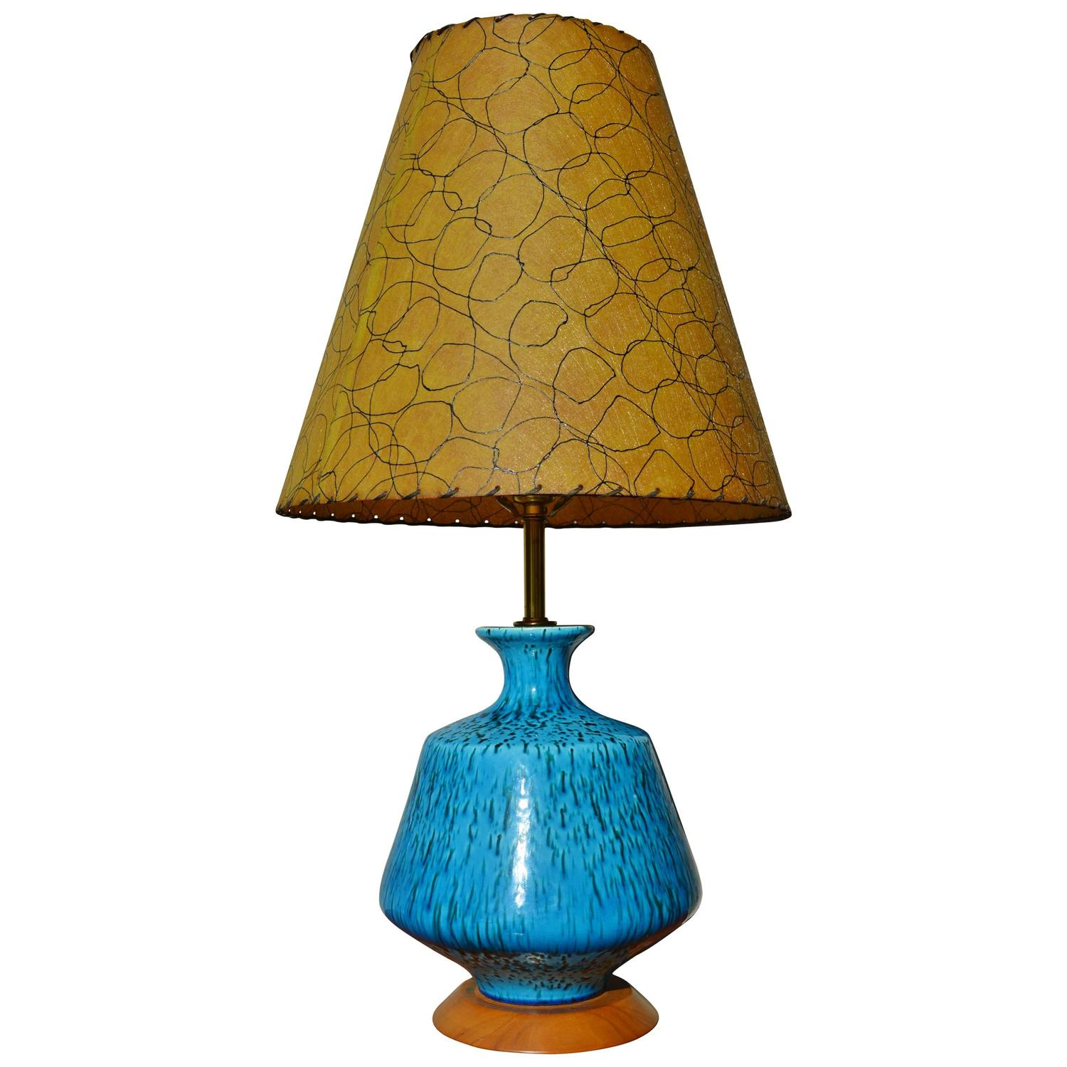 blue ceramic lamp with hand painted fiberglass shade at 1stdibs. Black Bedroom Furniture Sets. Home Design Ideas