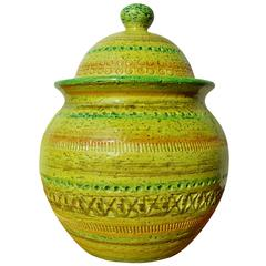 Bitossi Green Sgraffito Lidded Jar