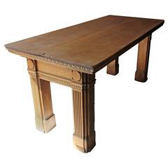 Imposing Georgian Revival Bleached Oak Counter Table, circa 1885