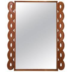 Elegant Italian Wood Mirror, circa 1950
