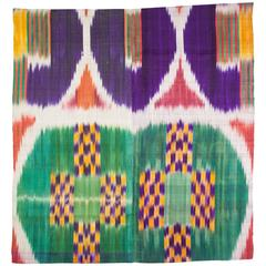Early 20th Century Ikat Fragment, Backed on Linen 2'9'' x 3'0''