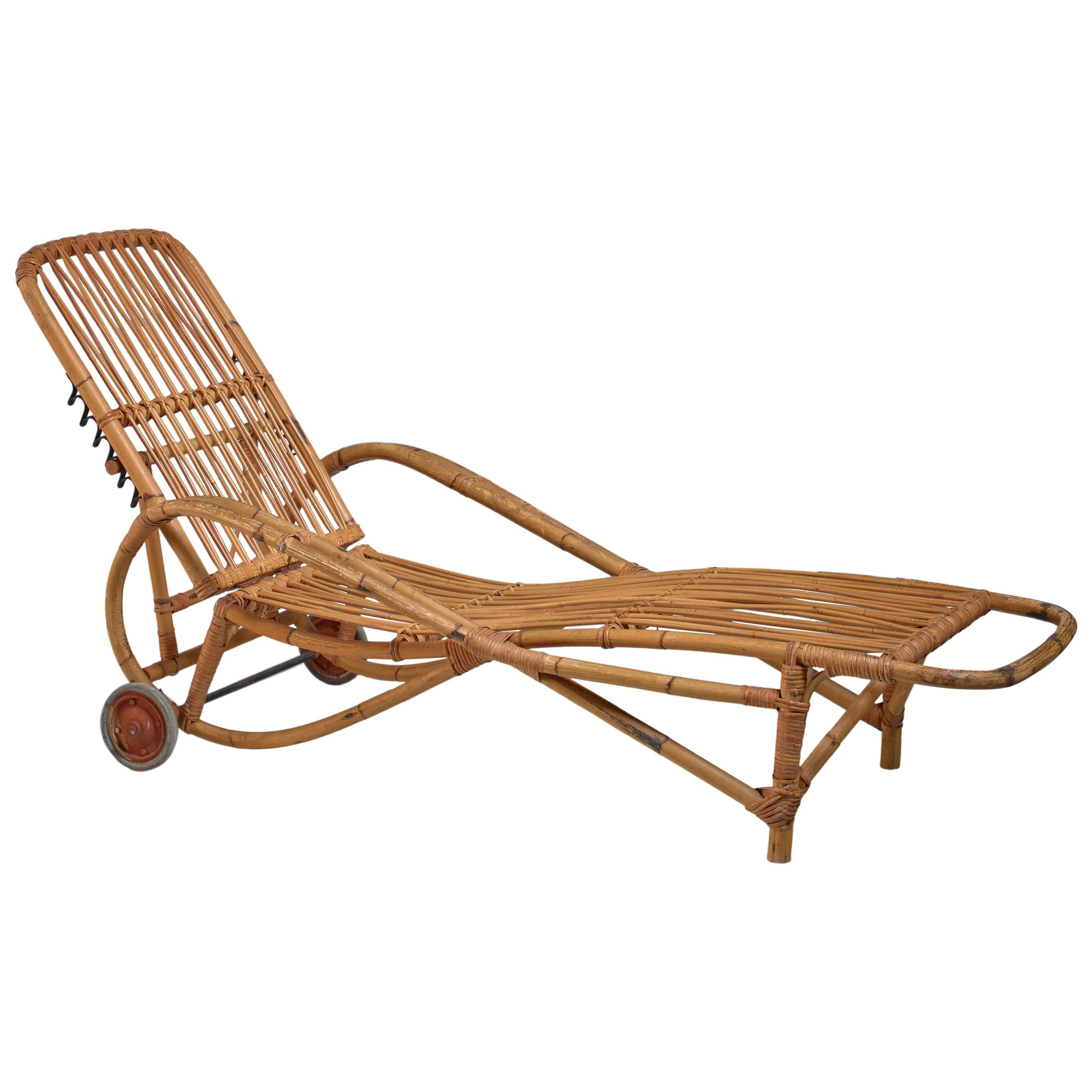 Genial Adjustable Bamboo Garden Chaise Longue, Germany, 1930s