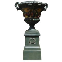 Elegant Hand-Painted Fiberglass Italian Urn with Fruit Garland