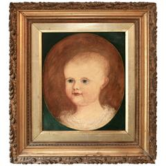 Fine Early 19th Century English Naive School Portrait of an Infant, circa 1830