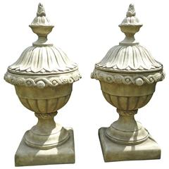 Pair of Faux Concrete Italian Urn Planters with Lids