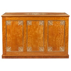 English 19th Century Satinwood and Ormolu Folio Cabinet with Expandable Easel