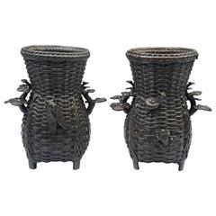 Pair of Japanese Bronze Basket Weave Vases, 19th Century