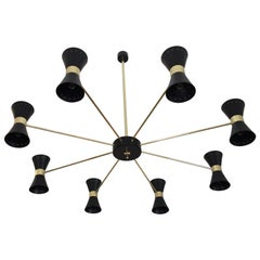Rare Large Double Coned Mid-Century Chandelier in the Art of Stilnovo