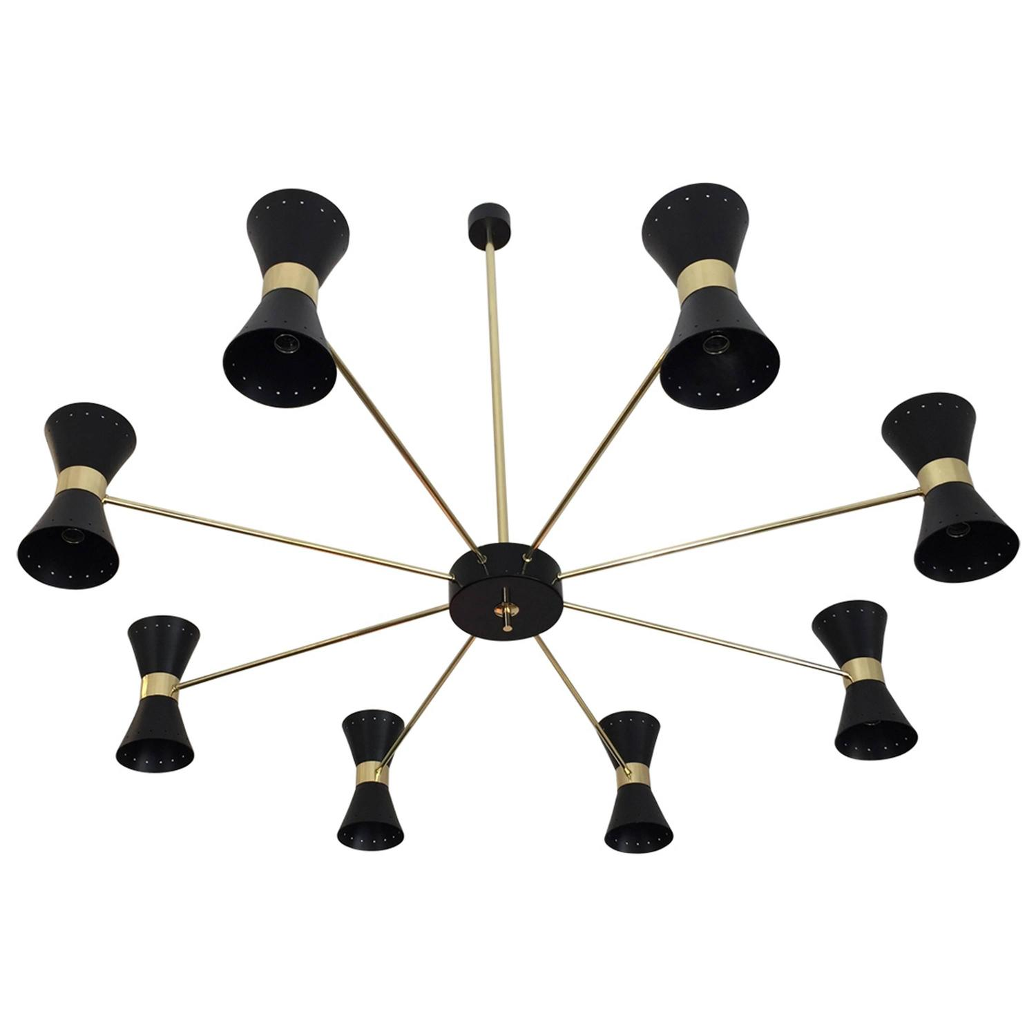 Large Double Ring Chandelier At 1stdibs: Rare Large Double Coned Mid-Century Chandelier In The Art
