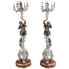Pair of French 19th Century Bronze and Silver Torcheres in the Louis XV Manner