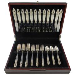 Acorn by Georg Jensen Sterling Silver Flatware Set for 12 Service 48 Pieces