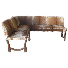 Antique Late 19th Century French Cowhide Angled Bench