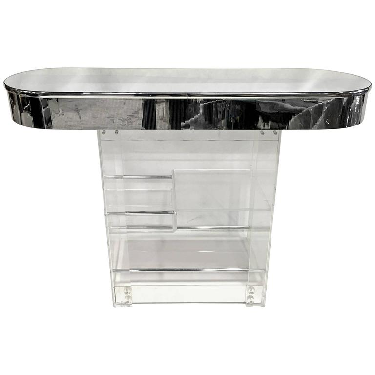 Mint 1970s Lucite, Chrome and Mirror Bar by Hill Mfg