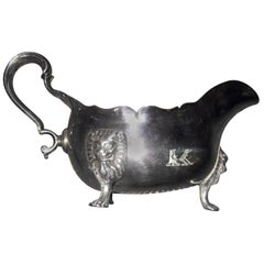 18th century Georgian Sterling Silver Irish Sauce Boat