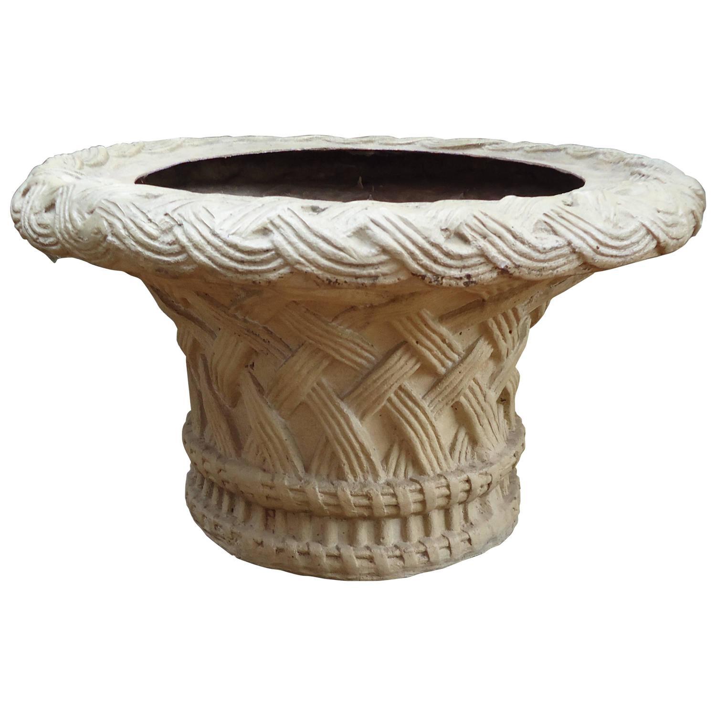 Large Fiberglass Basketweave Motiffe Planter Or Coffee