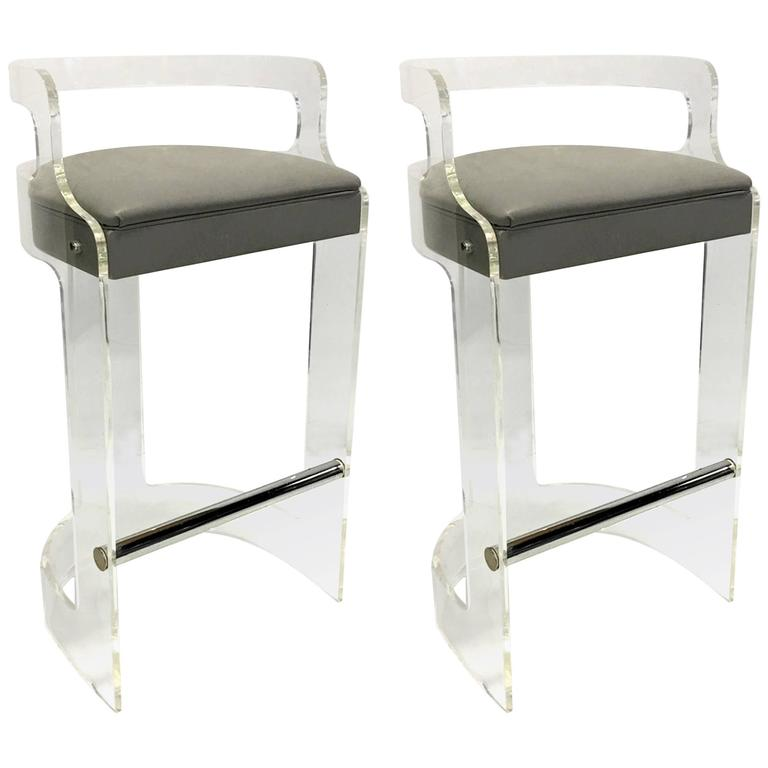 mint pair of lucite bar stools by hill mfg 1
