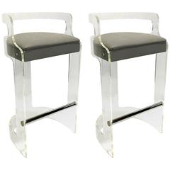 Mint Pair of Lucite Bar Stools by Hill Mfg
